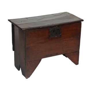 English 1700s Oak Small Dowry Trunk