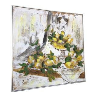 Mid Century Lee Reynolds Still Life Lemons Painting For Sale