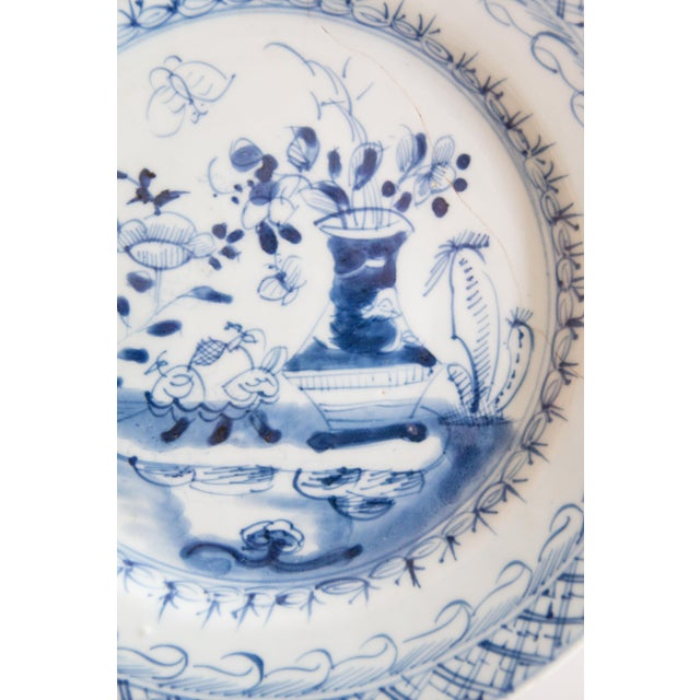 Transitional 19th-Century Antique Delft Plate Staples Restoration For Sale - Image 3 of 7