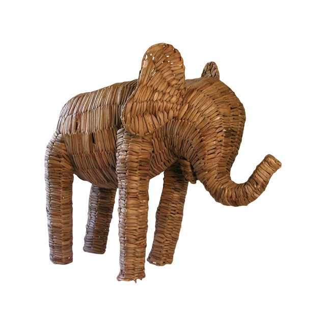 Vintage Large Seagrass Elephant - Image 1 of 7