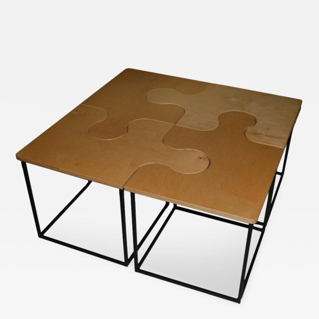 1980s Mid-Century Modern Maple Puzzle Coffee Table For Sale - Image 4 of 4