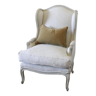 Vintage French Provincial Natural Linen Upholstered Wing Back Chair
