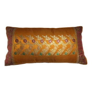 Indian Wedding Sari Custom Made Orange Silk Pillow For Sale
