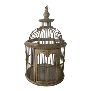 French Style White Washed Bird Cage For Sale