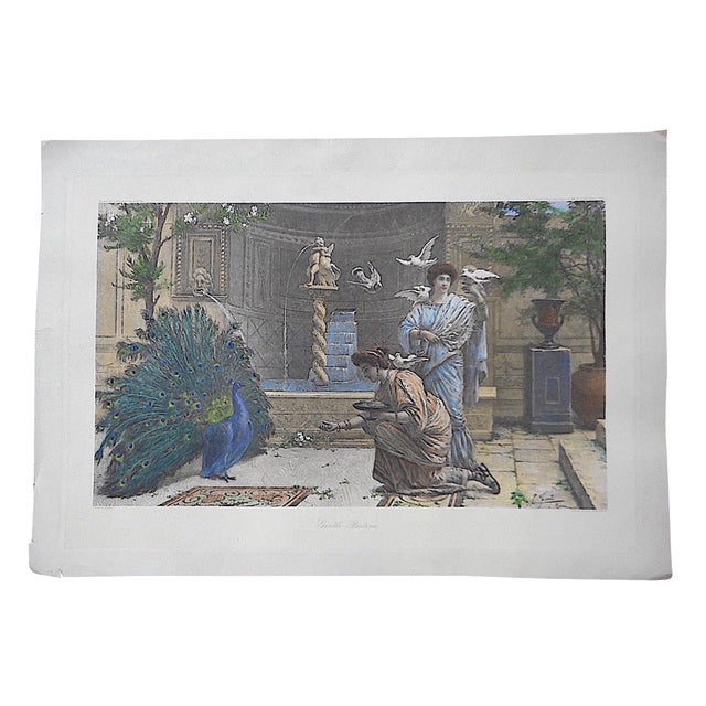 """Large Antique Lithograph """"Gentle Pastime"""" For Sale"""