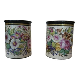Late 19th Century Flower Painted Wine Coolers - a Pair For Sale