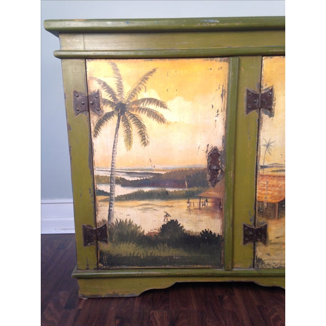 Artiero Brazil Tropical Palm Tree Hand-Painted Credenza Cabinet - Image 7 of 10