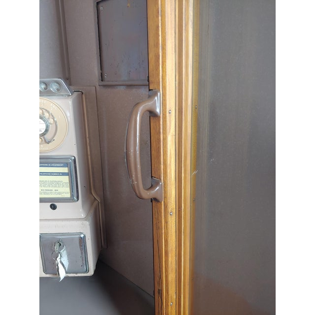 Wood 1950s Wooden Telephone Booth W/Original Working Pay Dial Phone For Sale - Image 7 of 12