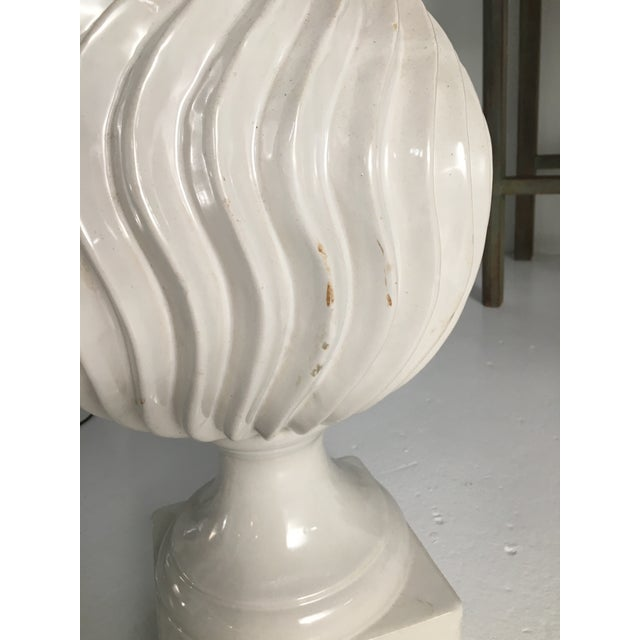Monumental Ceramic Double Gourd Lamps with Shades - a Pair For Sale - Image 11 of 12