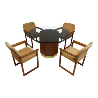 Scandinavian Style Teak Dining Set With Octagon Base and 4 Chairs For Sale