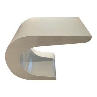 """C.1987-89 Karl Springer-Style, """"Mid Mod Curved"""" Cantilever White Lacquered Wood Drinks or Side Table For Sale"""