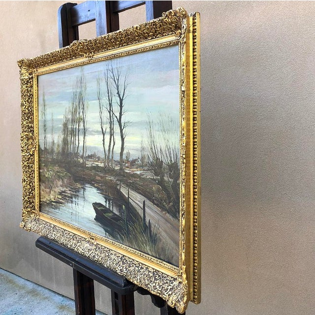 Blue Antique Framed Oil Painting on Canvas Signed T. Moens For Sale - Image 8 of 11