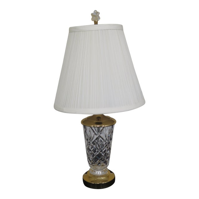 1990s Traditional Waterford Crystal Table Lamp With Shade For Sale