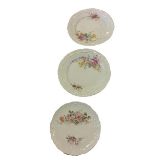 Floral Porcelain Plates with Gold Trim - Set of 3 For Sale