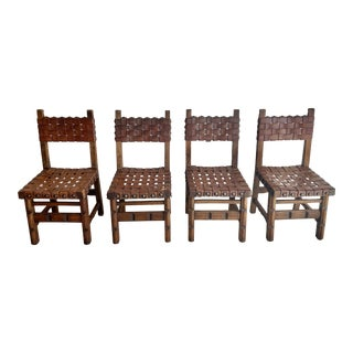 Antique Woven Belt Strap Leather Dining Chairs For Sale