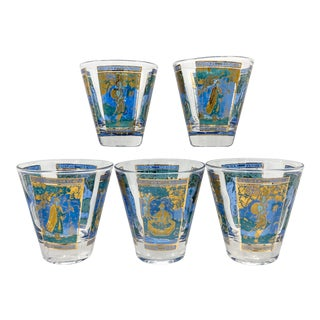 Mid Century Culver Asian Design Low Ball Glasses - Set of 5 For Sale