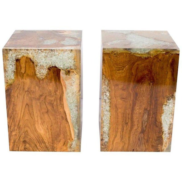 Pair of Organic Modern Bleached Teak Wood and Resin Side Tables For Sale - Image 13 of 13