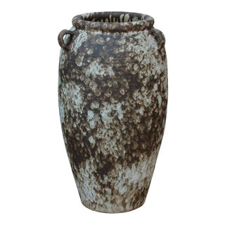 Ceramic Rough White Brown Dimensional Pottery Marks Tall Vase Jar