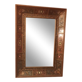 20th Century French Maison Janson Inspired Eglomise Reverse Painted Glass Mirror For Sale