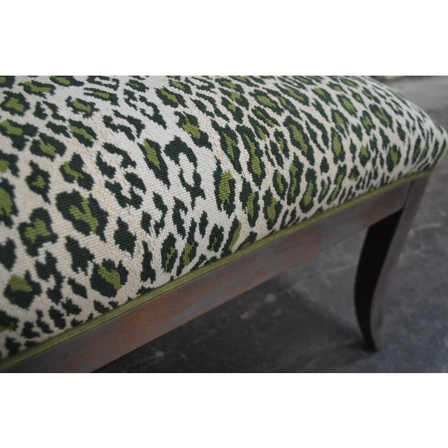 Wood Gray Dining Banquette in Green Leopard For Sale - Image 7 of 8