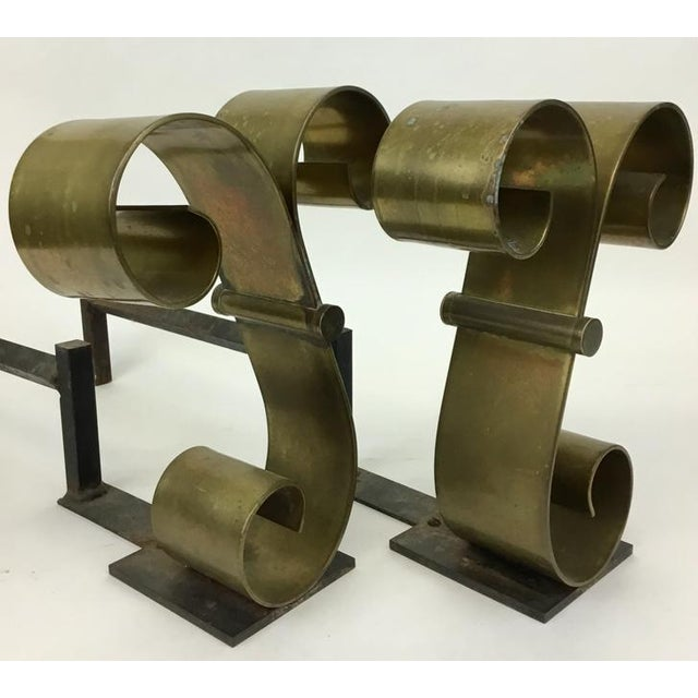 Raymond Subes Mid Century Solid Brass Scroll Andirons Attributed Raymond Subes For Sale - Image 4 of 5