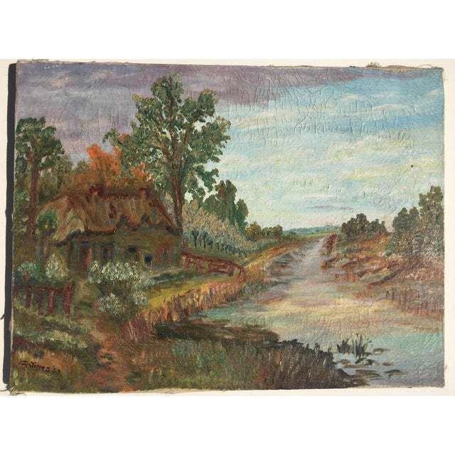 Cottage Scene Oil on Canvas Painting For Sale - Image 4 of 4