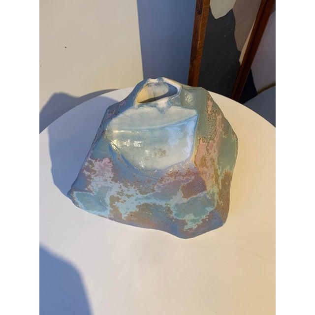 1970s Signed Tony Evans Raku Sculptural Vase For Sale - Image 5 of 7