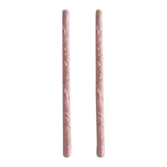Flora Taper Beeswax Candles in Rosewater - a Pair For Sale