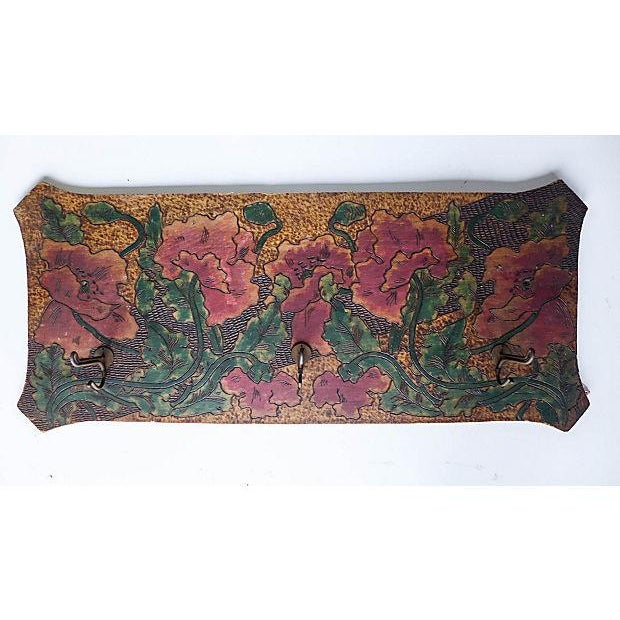 """Art Nouveau hand-carved and painted wood coat rack in rose/floral design by a Willimantic, CT artist (""""Lambert"""") of the..."""