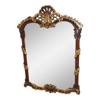 Carved Solid Mahogany French Style Wall Mirror W/Gold Highlights For Sale