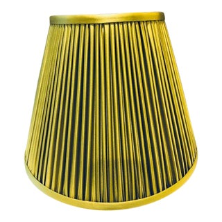 Mushroom-Pleat Chartreuse Silk Handsewn Lamp Shade For Sale