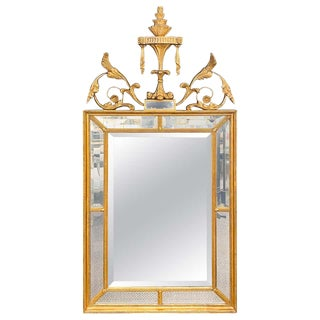 Adams Style Gilt Carved Wall Mirror With All Beveled Inserts For Sale