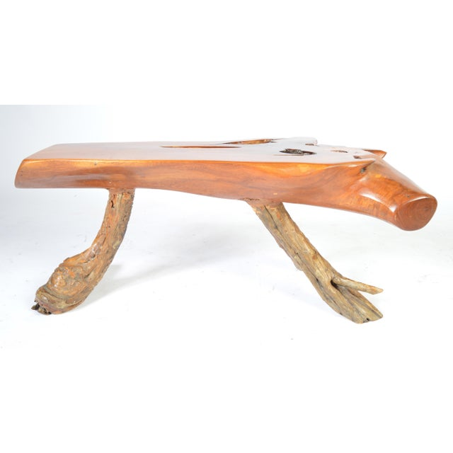 Free Edge Natural Sycamore Table With Root Legs Ca 1950 For Sale - Image 9 of 9