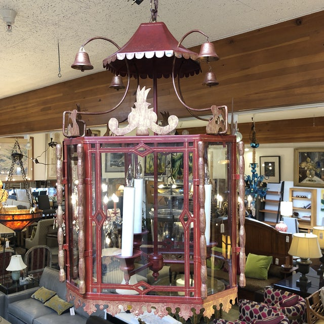 1970s Vintage Chinoiserie Lantern Pendant For Sale - Image 5 of 13