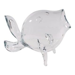 Vintage Wayne Husted Design Blenko Clear Glass Fish For Sale
