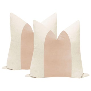 "22"" Pale Pink Velvet Panel & Linen Pillows - a Pair"