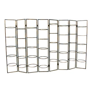 Mid-Century Modern Brass and Glass Shelving System For Sale