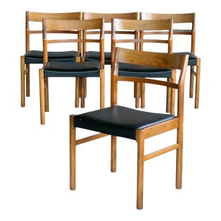 Set of Six Danish Midcentury Dining Chairs With Leather Seats by Slagelse For Sale