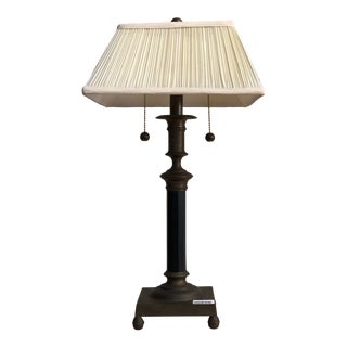 1940s Neoclassical Style 2 Light Bouillette Lamp with Shade For Sale