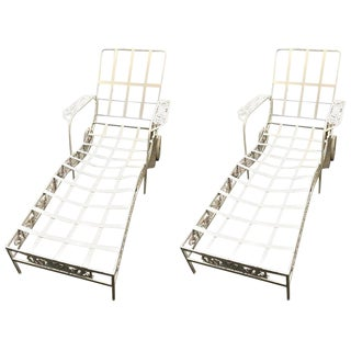 """Pair of Salterini Chaise Lounge """"Grape Vine"""" Frames, in White For Sale"""