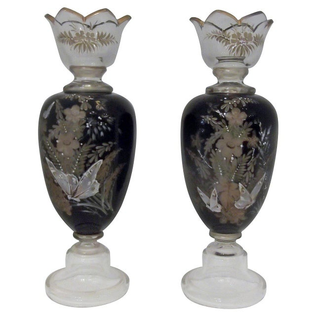 Blown Glass Antique Hand Enameled European Glass Garniture Vases - A Pair For Sale - Image 7 of 7