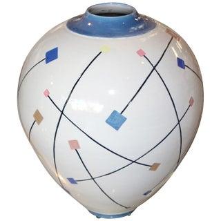 Postmodern Memphis Style Ceramic Pot For Sale