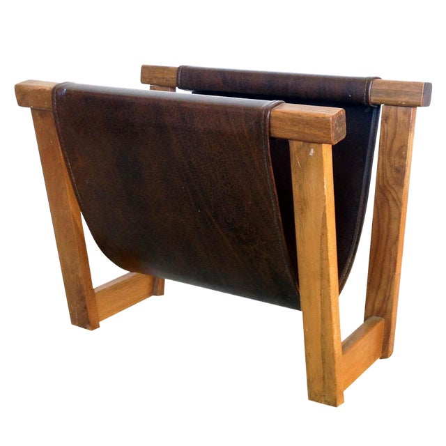 Antique Leather Strap Magazine Rack - Image 1 of 6