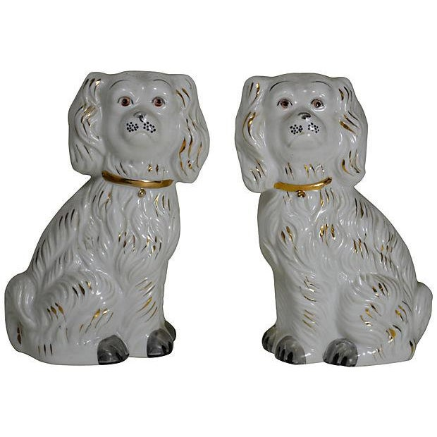 Staffordshire Style White China Dogs - A Pair - Image 1 of 2