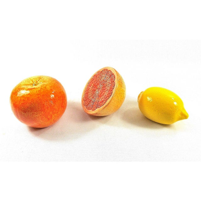2010s Grapefruit, Orange & Lemon Ceramic Fruit - Set of 3 For Sale - Image 5 of 13