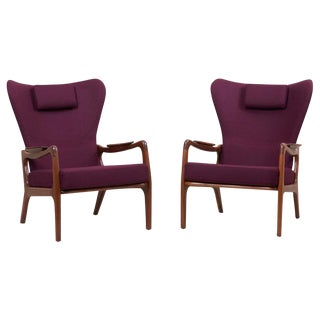 Newly Restored Pair of High Back Wing Lounge Chairs by Adrian Pearsall, 1950s For Sale