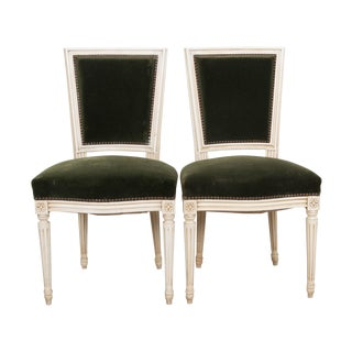 French Vintage Louis XVI Painted Side Chairs - a Pair For Sale