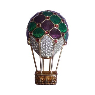 Elegant Jewel Encrusted Balloon Brooch by Swarovski C 1990s For Sale