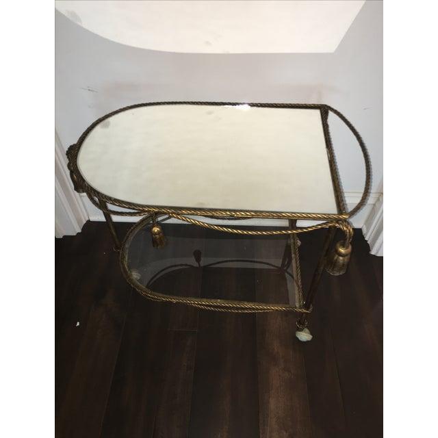 Italian Gold Faux-Rope Bar Cart - Image 4 of 6