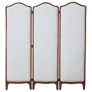 19th Century Louis XV Style Walnut Three-Panel Folding Screen For Sale
